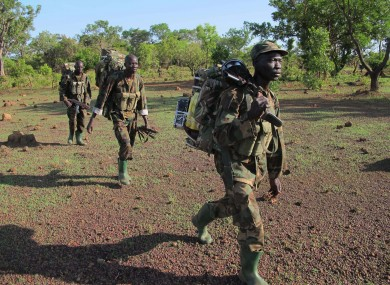 Ugandan soldiers searching for Kony in the Central African Republic jungle in April 2012.