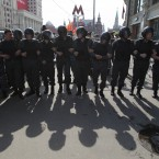 Police form a line to close downtown Moscow shortly before Vladimir Putin's inauguration. (AP Photo/Ivan Sekretarev)