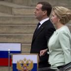 Former Russian President Dmitry Medvedev and his wife Svetlana leave Russian President Vladimir Putin's inauguration ceremony. (AP Photo/Alexander Zemlianichenko, pool)