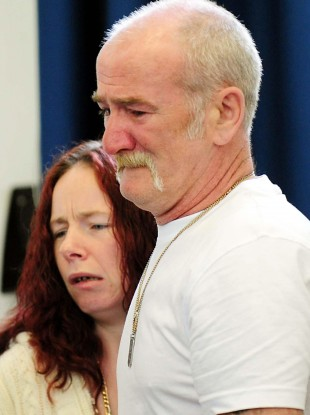 Mick Philpott and wife Mairead speak to the media at Derby Conference Centre, Derby following a fire at their home on 11 May which claimed the lives of six of his children.