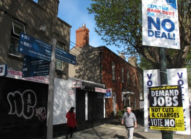 Posters on a Dublin street today