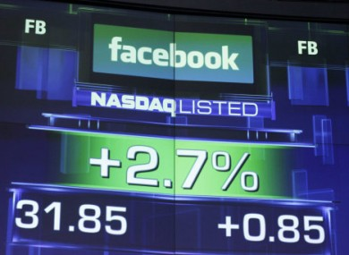 The pre-market price for Facebook shares shown in New York this morning.