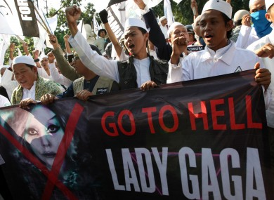 Demonstrators protest against Lady Gaga's proposed Indonesian gigs in Jakarta outside the US Embassy last Friday.