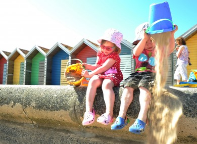 Three-year-olds Cerys Scott and Corey Thompson had a productive day at Blyth beach, Englandy today.