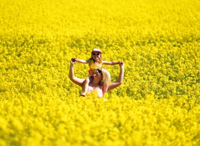 Stephanie Koch and daughter Kadie, 3, enjoy as walk through a rapeseed field in Whitley Bay in England today.