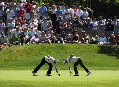 Ireland's Peter Lawrie (left) and England's Luke Donald.