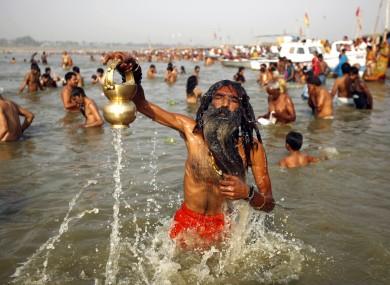 Hindu devotees at the Sangam, where the Rivers Ganges, Yamuna and the mythical Saraswati meet.