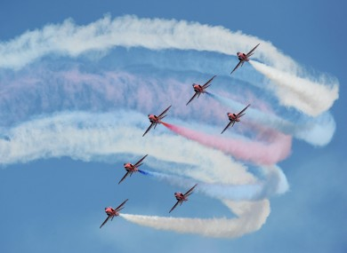 Some spectacular scenes from the Red Arrows training session at the RAF Scampton base today ahead of their display season opener on Saturday.