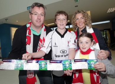 Ulster fans Stephen Deyermond with his son Bruce( 13), wife Suzanne and daughter Martha (7) from Ballyclare.