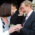 Enda Kenny canvasses Denise Neary from Mayo for a yes vote in tomorrows Fiscal Treaty Referendum outside Caffe di Napoli on Westland Row, Dublin today.   Photo: Laura Hutton/Photocall Ireland