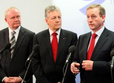 Martin McGuinness, Peter Robinson and Enda Kenny at a NSMC meeting last year.
