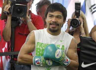Pacquiao at an open training session in LA this week.