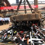 Some of the knives and other sharp weapons confiscated in Nantong, Jiangsu Province yesterday. (Photo by Huang Zhe/ChinaFotoPress/PA)
