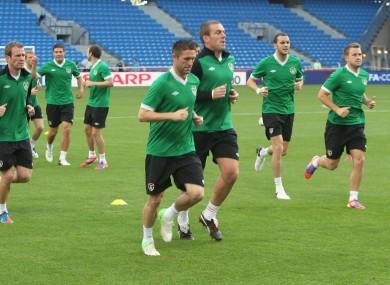 Ireland squad training in Poznan yesterday.