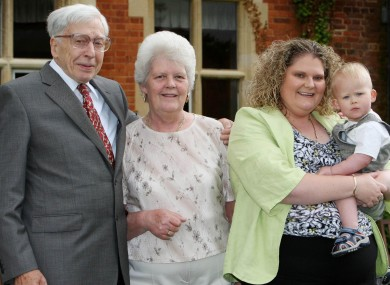 IVF Pioneer Professor Robert Edwards with Lesley Brown, her daughter Louise Brown and her son Cameron