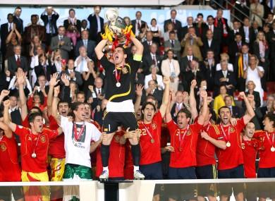 Spain's captain Iker Casillas lifts the Euro 2008 trophy.
