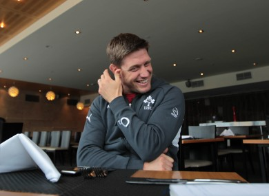 Ronan O'Gara chats to the press in Queenstown.