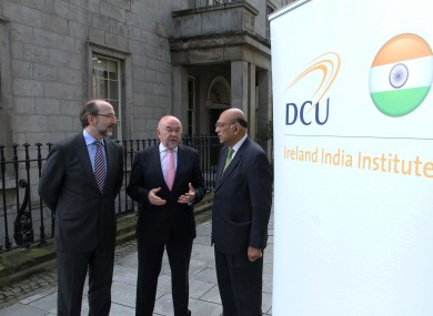 Professor Brian MacCraith, President of DCU, Minister Ruairí Quinn and India Ambassador, HE Mr Debashish Shakravarti