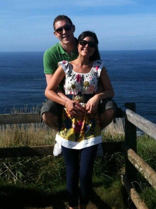 Family handout photo of John and Michaela McAreavey at the Giant's Causeway, in North Antrim.