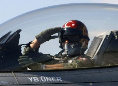 File photo of a Turkish pilot aboard a military plane.