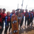Branson and team on Folkstone Beach, Kent after he abandoned his first attempt on Saturday. (Tom Pugh/PA Wire)