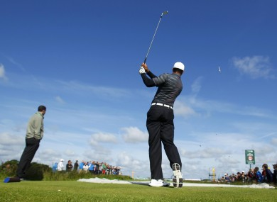 Tiger Woods took in a practice round at Royal Lytham & St. Annes Golf Club yesterday.