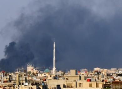 Smoke billowing over Damascus last week.