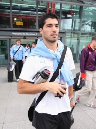 Luis Suarez arriving in London last week ahead of the Games.