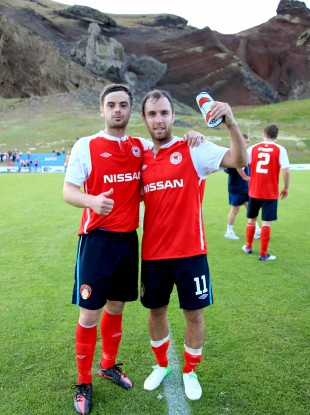 Greg Bolger and Sean O'Connor of St Pat's celebrate after their first round victory in Iceland.
