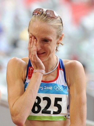Paula Radcliffe after finishing the Women's Marathon at the 2008 Beijing Olympics.