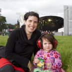 Emily Cuddy and Lillian Cuddy, two-and-a-half, settle into the Electric Picnic festival. (Photo: Tony Kinlan)