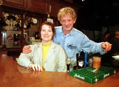 Biddy and Miley Byrne played by Mary McEvoy and Mick Lally in a scene from Glenroe
