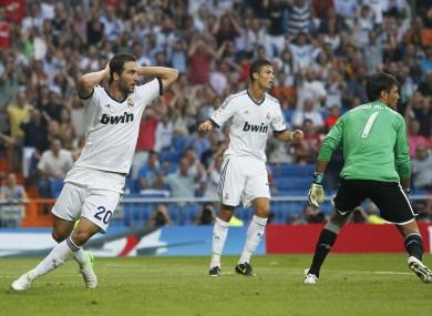 Higuain and Ronaldo react to a spurned scoring chance.