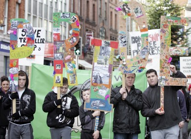 Protesters calling for Travellers to be recognised as a minority ethnic group in Irish society in 2009
