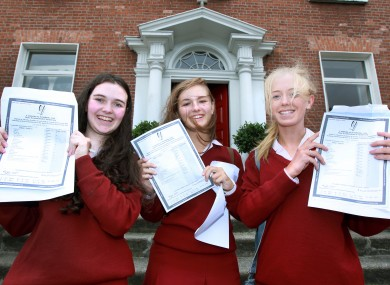 Caoimhe Daly, Niamh McAdams and Anna Woods from Loreto College in Dublin celebrate receiving their Junior Cert results on Wednesday.