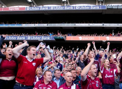 Galway fans celebrating towards the end of their All-Ireland semi-final victory over Cork.