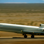 Big Flo takes off from an airport in Baja California, Mexico, carrying a pilot, co-pilot and a flight engineer.