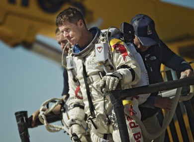 Felix Baumgartner of Austria reacting after his mission was aborted in Roswell on Tuesday