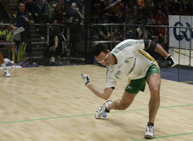 Paul Brady serves to Pittsburgh's David Fink in the exhibition series on Thursday night.
