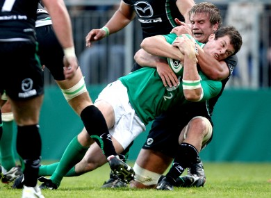 Ireland's Ian Whitten and TJ Anderson of Connacht in a pre-World Cup friendly in 2011.