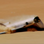 On impact, the plane breaks into three pieces and the nose crumples under the fuselage.