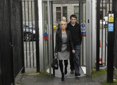 Karen Woods and Sean Quinn junior leaving the High Court in Dublin this morning.