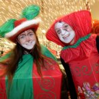 Roisin Leneghan and Niamh Walls from Skerries dress for the festive occasion. Photo Mark Stedman/Photocall Ireland