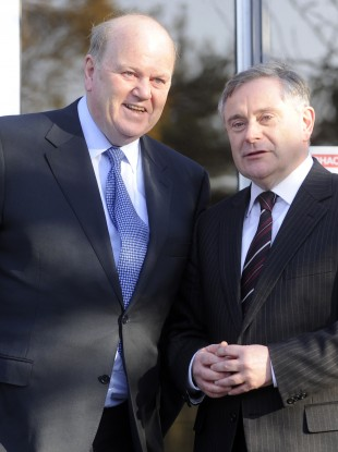 Fine Gael Minister for Finance Michael Noonan (left) and Labour Party Minister for Public Expenditure Brendan Howlin