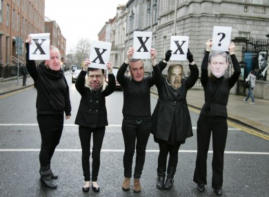 Pro-choice campaigners hold a demonstration calling for legislation to permit abortion under the Supreme Court's criteria in the X Case ruling.