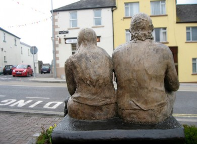 A memorial statue of Geraldine and Paddy in Belturbet