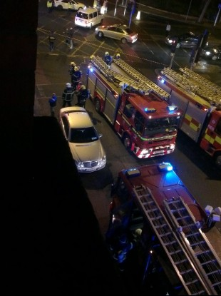 Fire engines attending the scene of the fire