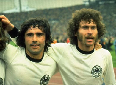 Gerd Muller and Paul Breitner of West Germany.
