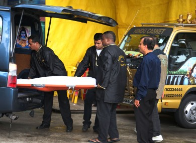 The body of the 23-year-old being brought from the Singapore hospital back to New Delhi earlier today
