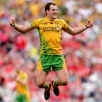 Into the final. Donegal's Michael Murphy jumps into the air at the final whistle after his side have qualified for the 2012 All-Ireland senior decider. (INPHO/James Crombie).